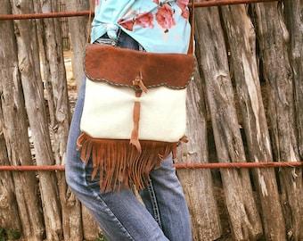 Handmade Leather Bag With Fringe Crossbody  Style