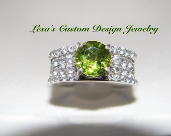 1.85ct Peridot White Zircon Sterling Silver statement Ring