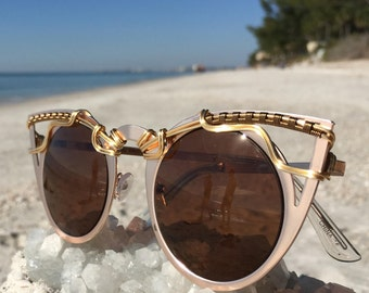 GOLD BRoNZe Women's Cat Eye Sunglasses <> SPUNGLASSES <> Wire Wrapped <> Eyeglasses Eyewear ~ Every Pair is a piece of art ~ FREE Shipping
