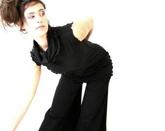 COWL NECK TUNIC, womens black top, women shirt, tunic top women, sleeveless top, treehouse28, handmade clothing, best selling, boho designs