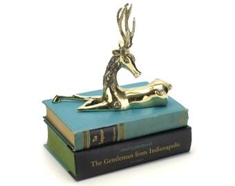 Vintage Brass Deer Figurine - Mantel Decor Asian Indian Mid Century Gold Gazelle Antelope Chinoiserie - Hollywood Regency - Boho Deer Statue