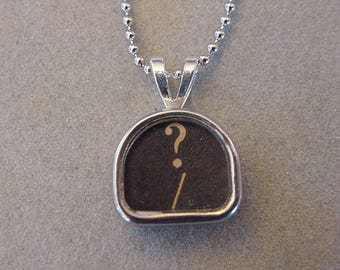 Typewriter key Necklace Question MARK Tombstone Shaped Typewriter Key Pendant Necklace Typewriter jewerly