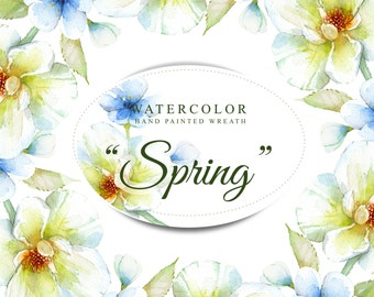 Spring frame, watercolor clipart, had painted, 300 dpi, png file without background