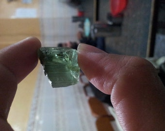 62ct unterminated green natural tourmaline crystal