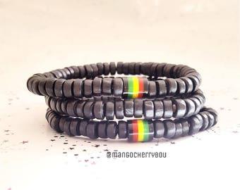 Mens bracelet, wood bracelet, black bracelet, red gold & green bracelet, rasta bracelet, ethnic bracelet, surfer bracelet, stacking bracelet