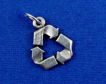 Recycle Symbol Charm - Silver Recycle Symbol Charm for Necklace or Bracelet
