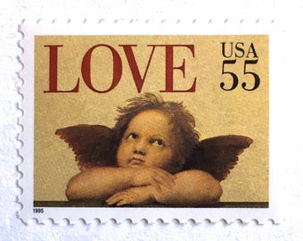 10 Unused Cherub LOVE Stamps // 55 Cent Vintage 1995 LOVE Postage Stamps for Mailing