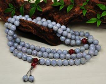 Mala of Purple Jadeite & Red Agate Beads (紫翡翠.紅瑪瑙 念珠) -108 Mala Beads -Japa Mala -Prayer Beads -Yoga -Meditation -Mantra -Awakening -Energy