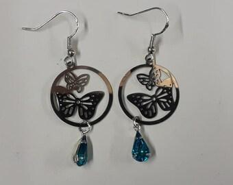 pair of earrings 925 sterling silver butterfly earrings