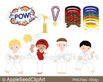 Karate Kids Digital  Clip Art, Tae Kwon Do Digital Clip Art, Cute Little Boys Digital Clip Art, Instant Download