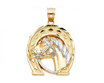 14K Solid Yellow White Gold Horse Head Horseshoe Pendant - Good Luck Necklace Charm