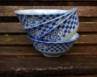 Vintage Rice Bowls, Chinese Blue White Check Bowls, Chinese Porcelain Bowls, Chinese Tableware, Four Chinese Rice Bowls