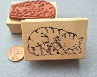Little Lady with Cat Friend Rubber Stamp