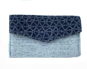Women's Wallet, Blue Wallet, Fabric Wallet, Wallet Phone Case, Card Wallet, Phone Case, Phone Wallet, Thin Wallet, Handmade, Gift for her