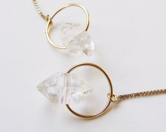 Herkimer Diamond Gold Chain Earrings