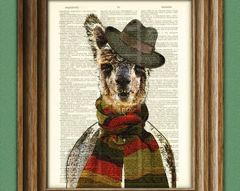 Tom the Llama Doctor with scarf and hat illustration beautifully upcycled dictionary page book art print
