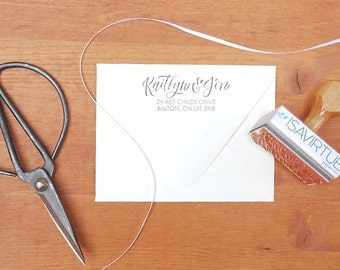 custom address stamp: for wedding invitations, brides, grooms, thank-you address, engagement, wedding gift