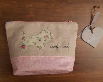 Westie dog applique make up bag, westie machine free motion embroidery, westie Toiletry bag, Zip-Pouch, westie wash bag, cosmetic case