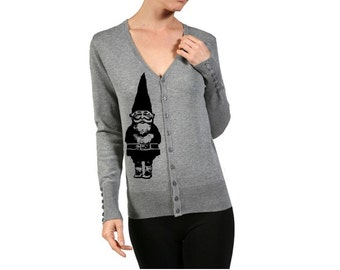 Womens Gnome Sweater Women's Cardigan Sweaters Holiday Shirts Clothing with Gnomes Screen Print Cute Sweaters Button Up Warm and Cozy