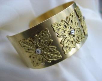 One Inch Gold Cuff,  Womens Gold Cuff Bracelet