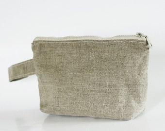 Wristlet pouch - Dark Linen