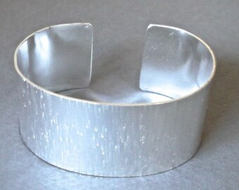 Wide sterling cuff with birch bark texture