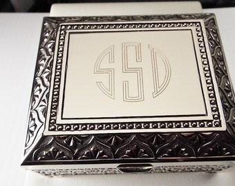 Custom Engraved Jewelry Box Personalized Silver Nickel Plated Floral Motif Footed Trinket Box - Hand Engraved