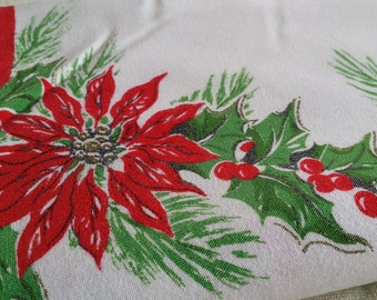 TCX004 ~ Vintage tablecloth Christmas theme Red candles Red poinsettias Red ribbon Green holly Red berries Red bells
