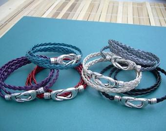 Womens Braided Leather Bracelet, Interlocking Magnetic Clasp, Leather Bracelet, Womens Jewelry, Womens Bracelet