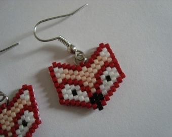 Beige Fox head earrings