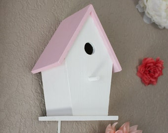 Rustic Woodland Nursery Birdhouse Nightlight Light Pink White