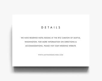 Wedding Details Card, Details Card, Wedding Details, Accommodation Cards, Wedding Registry Cards, Direction Cards, Modern, Minimalist