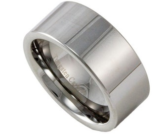 10MM Wide Mens Tungsten Wedding Band Custom Engraved Promise Ring