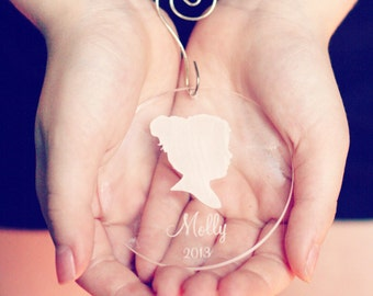 Custom Silhouette Christmas Ornament made from your photo by Simply Silhouettes