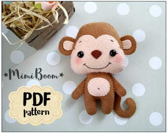 Felt monkey pattern PDF tutorial monkey plush sewing tutorial monkey DIY felt ornament monkey Sewing tutorial felt monkey baby mobile