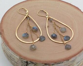 Labradorite Earrings, Teardrop Hoop Earrings, Gold or Silver, Gray Labradorite Earring
