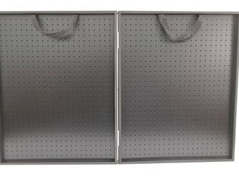 """30 x 24 x 3 3/4"""" All Black Thick Folding Pegboard Display Suitcase"""