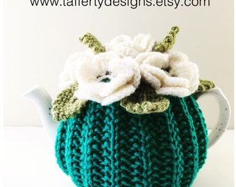 Hand-knitted Floral tea cosy in pure wool - Size Small - fits 1-2 cup teapots