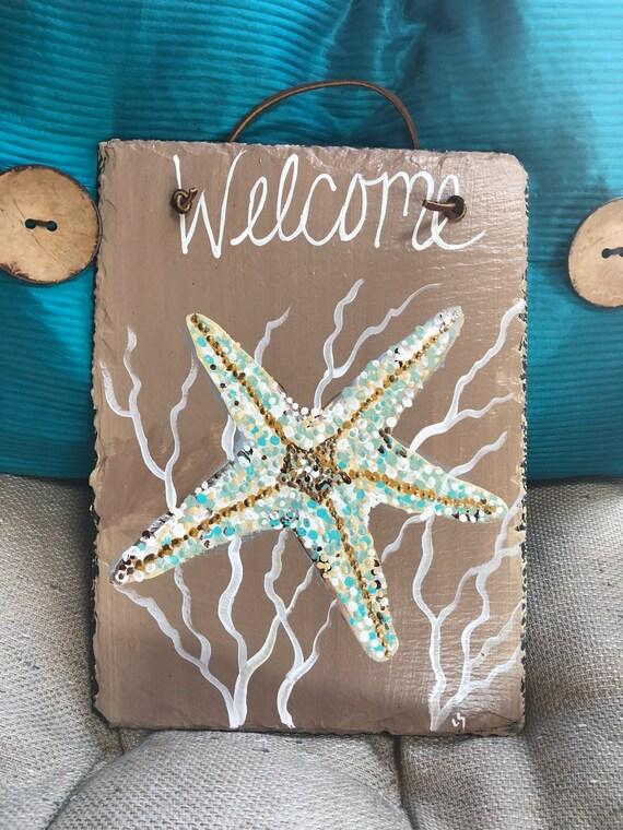 Welcome Starfish door decoration, door hanger, Coastal Door Hanger, Seaside decor, Beach house decor, Coastal decor, Beach wall hanging