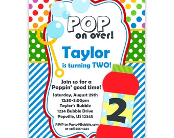 Bubble Invitation - Rainbow Colors Polka Dots, Blue Stripes, Red Blowing Bubbles Personalized Birthday Party Invite - Digital Printable File