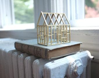Golden wood framework - miniature architecture - geometric structure - 3D line drawing