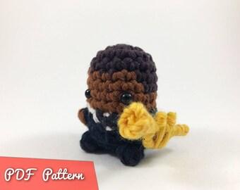 PDF Pattern for Crocheted Louis Armstrong Amigurumi Kawaii Keychain Miniature Doll Plush