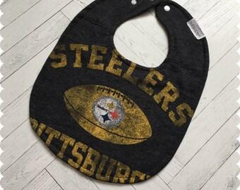Pittsburgh Steelers Baby Bib, Recycled T-Shirt Baby Bib, Sports Baby Boy Gift, Baby Shower Gift, Football Baby
