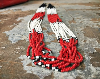 10 Strand Seed Bead Necklace Red Necklace, Native American Beadwork, Bohemian Necklace