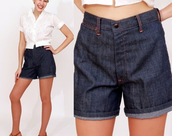 Vintage 50s/60s High Waist Long Denim Shorts by Sears | Small