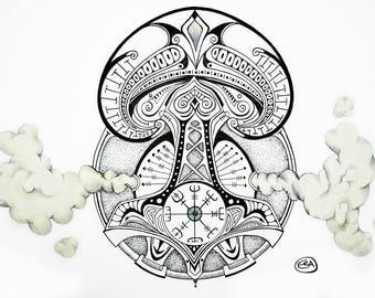 Viking Symbols Drawing - Thor's Hammer, Vegvisir - 11 x 14 Giclée Print