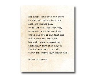 F. Scott Fitzgerald Quote Wall Art Print, Love Quote, Literary Art Print, Book Page Wall Art, Literary Gift Idea, Large Wall Art
