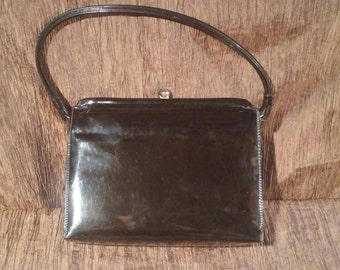 Vintage 1950's patent leather handbag, free shipping