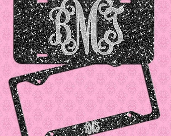 Monogrammed License Plate, Black Silver Glitter Car Tag, Personalized License Plate Frame, Monogram Car Coasters, NOT REAL GLITTER