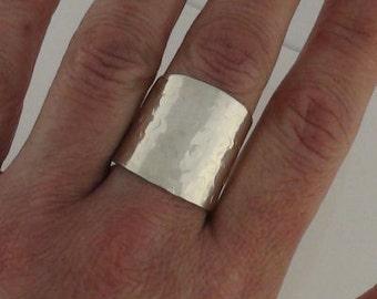 Cuff Ring - Wide Band Ring -  Cigar Ring - Hammered Ring -  Champagne Bubbles -  Sterling Silver ring